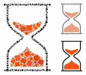 Hourglass Mosaic Of Tuberous Pieces In Variable Sizes And Shades, Based On Hourglass Icon. Vector Tu poster