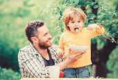 Family Enjoy Homemade Meal. Father Son Eat Food And Have Fun. Nutrition Habits. Little Boy And Dad E poster