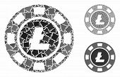 Litecoin Casino Chip Mosaic Of Uneven Parts In Different Sizes And Color Hues, Based On Litecoin Cas poster