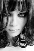 image of groupies  - Black and white portrait of young girl looking like wild animal - JPG