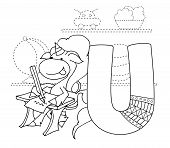 Letter U And Funny Cartoon Unicorn. Animals Alphabet A-z. Coloring Page. Printable Worksheet. Handwr poster