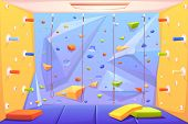 Rock Climbing Wall With Grips, Mats And Ropes For Bouldering Activity In Gym Or Recreation Area For  poster