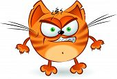 image of cartoon animal  - The angry orange cartoon cat - JPG