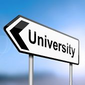 picture of post-teen  - illustration depicting a sign post with directional arrow containing a university concept - JPG