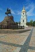 stock photo of hetman  - Saint Sophia Cathedral and monument to Bogdan Khmelnitsky in Kiev Ukraine - JPG
