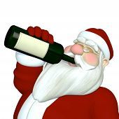 stock photo of humbug  - Santa Tipping Back a Bottle of Wine.