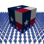 pic of texans  - Texan flag cube surrounded by people illustration - JPG