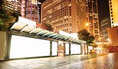 pic of bus-shelter  - Blank billboard on bus stop at night - JPG