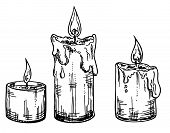 Set Of Sketch Candles. Burning Candles, Wax Candles Are Melted. poster