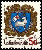Vintage  Postage Stamp. Coat Of Arms  Trencin.