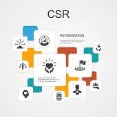 Csr Infographic 10 Line Icons Template. Responsibility, Sustainability, Ethics, Goal Simple Icons poster