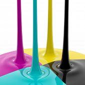 CMYK liquid inks spilling, 3D render image