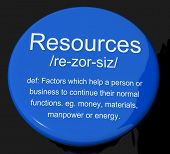 Resources Definition Button Showing Materials Assets And Manpower For A Business