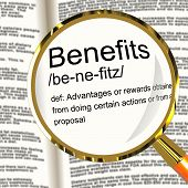 Benefits Definition Magnifier Showing Bonus Perks Or Rewards poster