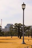 Old Fashioned Street Lamp, Tokyo Imperial Palace, Serene Orange Dry Landscape, Rustic Classy Lamp Po poster