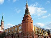 picture of arsenal  - Corner Arsenal Tower of Moscow Kremlin in Moscow Russia - JPG