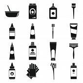 Hair Dye Brush Icons Set. Simple Set Of Hair Dye Brush Vector Icons For Web Design On White Backgrou poster