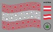 Waving Austria Flag. Vector Cannabis Pictograms Are Organized Into Conceptual Austrian Flag Collage. poster