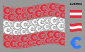 Waving Austrian Official Flag. Vector Euro Elements Are Organized Into Geometric Austria Flag Compos poster