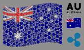 Waving Australia State Flag. Vector Ripple Currency Design Elements Are Placed Into Conceptual Austr poster