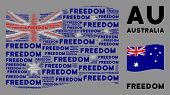 Waving Australia Flag. Vector Freedom Text Design Elements Are Placed Into Mosaic Australia Flag Col poster
