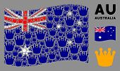 Waving Australia Flag. Vector Royal Design Elements Are Formed Into Geometric Australia Flag Collage poster