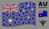 Waving Australia Official Flag. Vector Futuristic Man Elements Are Organized Into Mosaic Australia F poster