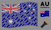 Waving Australia Official Flag. Vector Electric Torch Light Design Elements Are Scattered Into Conce poster