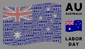 Waving Australia State Flag. Vector Labor Day Texts Are Combined Into Geometric Australia Flag Abstr poster