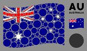 Waving Australia Official Flag. Vector Circle Elements Are Combined Into Mosaic Australia Flag Colla poster