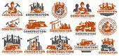 Construction Logo Template Set, Logo Pack, Logo Bundles, Vector Pack Of Construction Logo, Easy To E poster