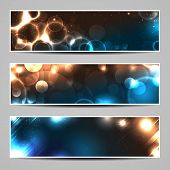 Three banners with bokeh lights and blurs