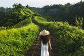 Young Beautiful Woman Walking On Campuhan Ridge Way Of Artists, In Bali, Ubud. Beautiful Calm Sunny  poster