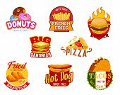 Fast Food Icons Of Vector Burger, Pizza And Hamburger, Sandwich, Hot Dog And Mexican Taco, Fried Chi poster