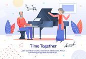 Time Together For Elderly People Promotion Cartoon Poster. Senior Man Playing Piano Musical Instrume poster