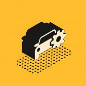 Isometric Car Service Icon Isolated On Yellow Background. Auto Mechanic Service. Mechanic Service. R poster