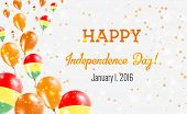 Bolivia Independence Day Greeting Card. Flying Balloons In Bolivia National Colors. Happy Independen poster