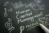 Human Capital Management Hcm Handwritten Sign On A Black Paper. poster