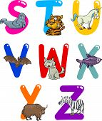 stock photo of x-ray fish  - Cartoon Colorful Alphabet Set with Funny Animals - JPG