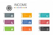 Income Infographic 10 Option Line Concept.save Money, Profit, Investment, Profitability Simple Icons poster