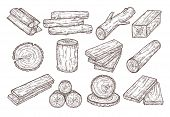 Hand Drawn Lumber. Sketch Wood Logs, Trunk And Planks. Stacked Tree Branches, Forestry Construction  poster