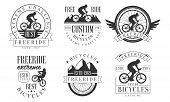 Extreme Freeride Retro Logo Templates Set, Bicycles Extreme Challenge Badges Vector Illustration poster