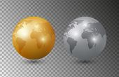 Gold Silver Earth. 3d Earth Planet Models Vector Illustration. Planet Isolated On Transparent Backgr poster