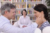 image of love making  - couple making up at therapy session with psychologist - JPG
