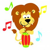 foto of bongo  - Happy Vector Lion on Bongos Drums Illustration Cartoon - JPG