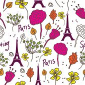 Paris Spring-love In Paris Seamless Repeat Pattern. Eiffel Tower With Text And Naive Flowers In Pink poster
