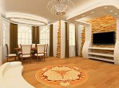 picture of brighten  - Decorative ornament with laminated flooring board and brick masonry in modern interior - JPG