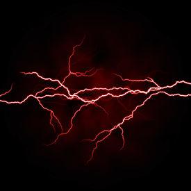 foto of lightning bolt  - electrical white red lightning over dark background - JPG