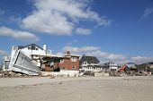 Damaged beach houses in devastated area four months after Hurricane Sandy