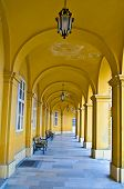 picture of schoenbrunn  - old yellow Colonnade in Schoenbrunn in Vienna - JPG